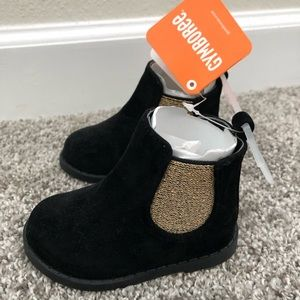 New!  Gymboree Booties Size 4 - Black/Gold